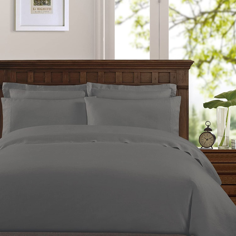 Echelon Home Washed Belgian Linen Sheet Set, Full, Slate Grey