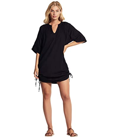 Seafolly Textured Cotton Cover-Up (Black) Women