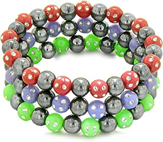 Amulets Set of 3 Individual Simulated Hematite Magnetic Bracelets Red, Purple, Neon Green Crystals