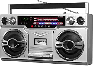 Victrola 1980s Retro Bluetooth Boombox with Cassette Player and AM/FM Radio, Wired and..
