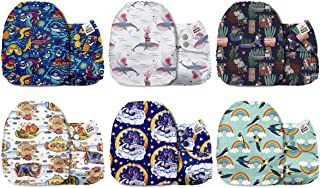Mama Koala One Size Baby Washable Reusable Pocket Cloth Diapers, 6 Pack with 6 One Size Microfiber Inserts (Free Land)