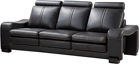 American Eagle Furniture Delaware Collection Modern Living Room Bonded Leather Upholstered Sofa, Black