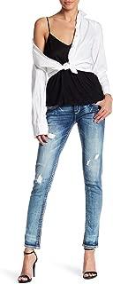 Rhinestone Womens Charon Rip Skinny Jeans Denim