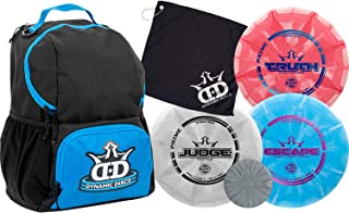 Dynamic Discs Disc Golf Starter Set | Cadet Backpack Disc Golf Bag Included | 17 + Disc Capacity | Prime Burst Disc Golf Frisbee Set Included | Putter, Midrange, Driver | 170g Plus | Colors Will Vary