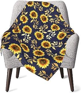 Sunny Yellow Gold Navy Sunflowers Baby Blanket Boys Soft Baby Blanket Fleece Baby Girl For Nursery Stroller Crib Receiving...