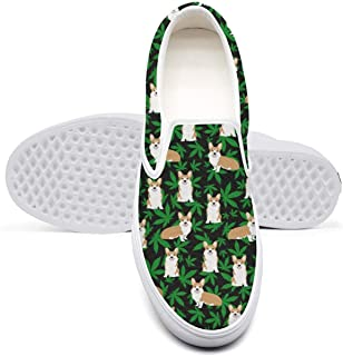 3b0bf3cafc1b9 Women's Shoes Slip-on Canvas Shoes Casual Sneakers Cannabis Leaf Dog Black  Plimsoll Designer