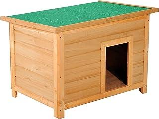 comprar comparacion PawHut Caseta para Perro 85 x 58 x 58cm Madera Impermeable con Tejado Verde Abatible y 4 Pies Antideslizantes