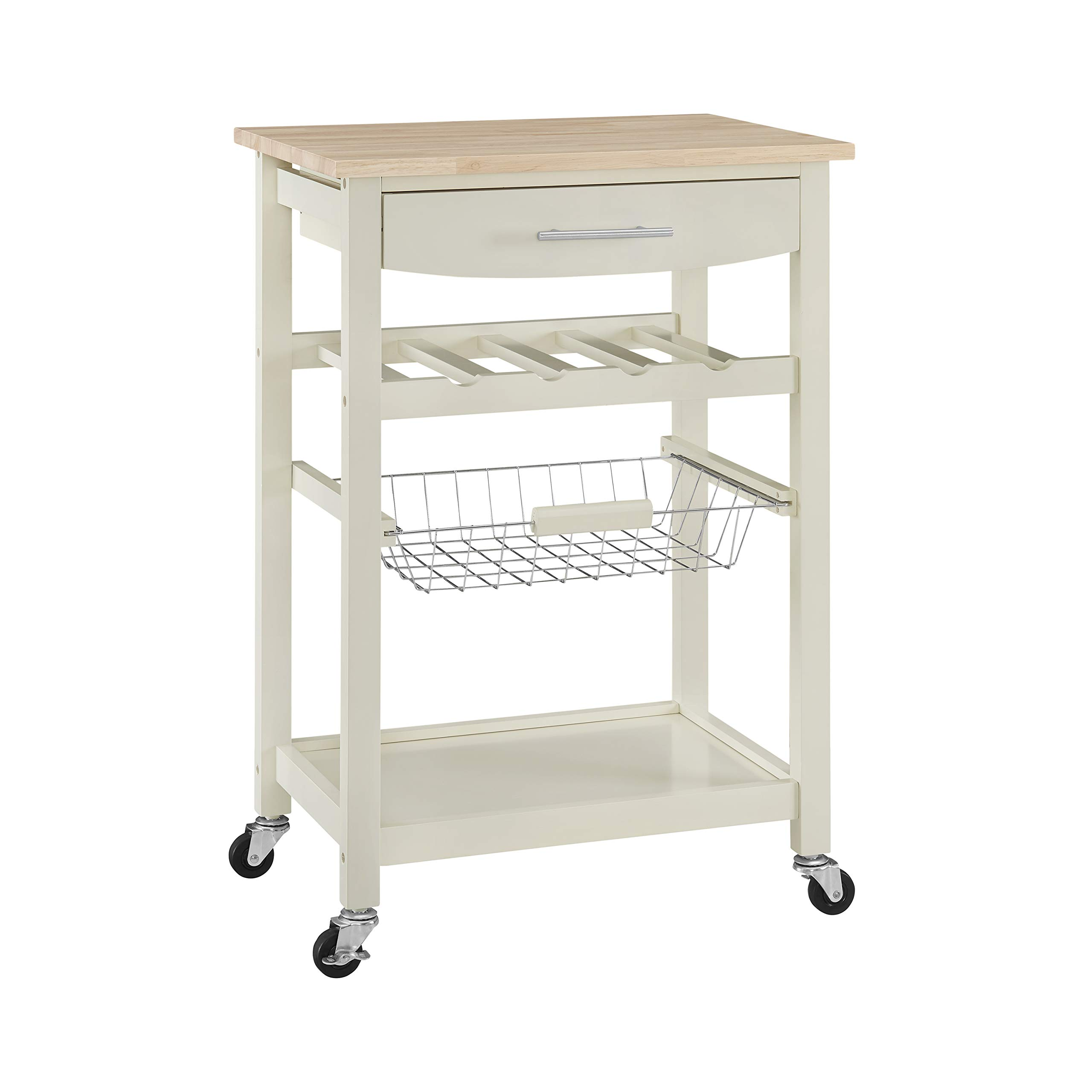 Linon Home Decor Products Pascal Kitchen Cart, Bone White with Wood Top
