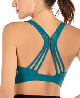 RUNNING GIRL Strappy Sports Bra for Women, Crisscross Back Yoga Bra Medium Support Activewear Fitness Bra with Removable Cups
