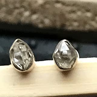 Natural Herkimer Diamond 925 Solid Sterling Silver Earrings 7mm