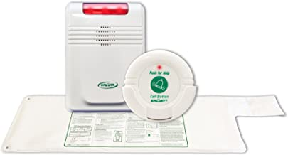 "Cordless, Wireless Bed Alarm Alert System - No Alarm in Patient's Room (10"" x 30"" pad w/call button)"