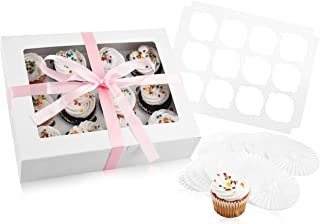 Bakery Cupcake Boxes and Cake Carrier: 4 Treat Holder Storage Boxes - Disposable Bakery Box with Clear Window, 4 Removable Inserts/Holders for a Dozen Cupcakes, 48 Cup Cake Baking Cups and Ribbon