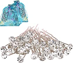 40pcs Bridal Wedding Hair Pins Rhinestone Hair Clips with 2 Jewelry Bags U-shaped Design Collection Crystal Hair Pins Clips Accessories for Women