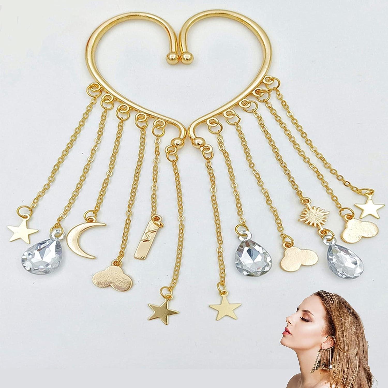 XFSSFWB Wrap Clip Earrings for Women, Angel Tears Ear Cuff Dangle Non Piercing, Ear Wrap Crawler Hook Earrings, Boho Earrings Jewelry Gift for Women Girls (Color : Gold)