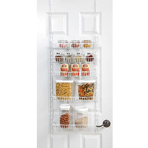Smart Design Over The Door Adjustable Pantry Organizer Rack w/ 5 Adjustable Shelves - Small 51 Inch - Steel Construction w/ Hooks & Screws - for Cans, Food, Misc. Item - Kitchen [White]