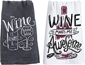 """18th Street Gifts Funny Wine Themed Kitchen Towel Set - One Each """"Wine is Always A Good Idea"""" and """"Wine Makes Me Awesome"""""""