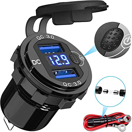 [2021 Upgraded] Quick Charge 3.0 Dual USB Socket, Qidoe Aluminum Metal 12V/24V USB Outlet with LED Voltmeter & ON/Off Switch for Car Boat Marine ATV Bus Truck and More