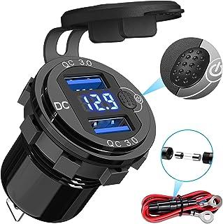 Quick Charge 3.0 autolader, 12V USB lader socket adapter stopcontact, met LED digitale voltmeter en schakelaar, geschikt v...