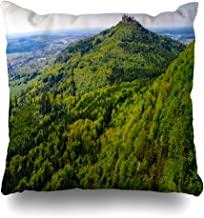 iDecorDesign Throw Pillow Covers Wurttemberg_Green_Age_Aerial_View_Famous_Hohenzollern_Castle_Germany_Taken_Drone_Parks_Ancient Home Decor Pillow Case Square Size 18 x 18 Inches Pillowcase