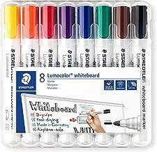 Staedtler Lumocolor 351 WP8 Whiteboard-Marker (Rundspitze ca. 2 mm Linienbreite, Set mit 8 Farben, hohe Qualität, trocken und rückstandsfrei abwischbar von Whiteboards