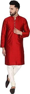 SKAVIJ Men's Art Silk Kurta Pajama Set Indian Clothing Dress