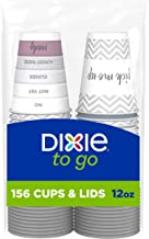 Dixie To Go Disposable Hot Beverage Paper Coffee Cups with Lids, 12 oz, Assorted Designs, 156 Count