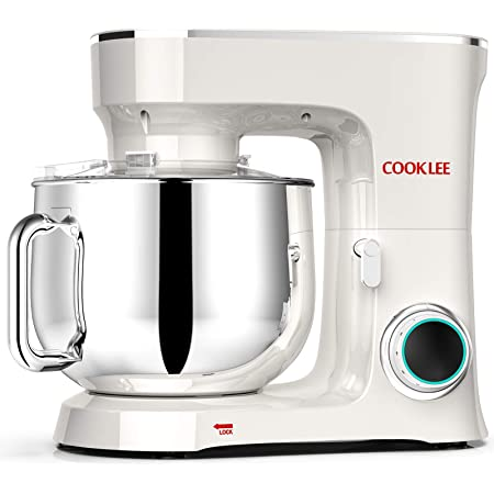 COOKLEE Stand Mixer, 9.5 Qt. 660W 10-Speed Electric Kitchen Mixer with Dishwasher-Safe Dough Hooks, Flat Beaters, Wire Whip & Pouring Shield Attachments for Most Home Cooks, SM-1551, Cream White