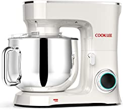 COOKLEE Stand Mixer, 9.5 Qt. 660W 10-Speed Electric Kitchen Mixer with Dishwasher-Safe Dough Hooks, Flat Beaters, Wire Whi...