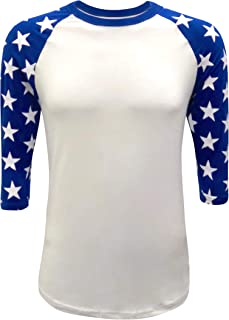 ec2a5dcb Star Sleeves Raglan 3/4 T-Shirt Baseball Style Tee Patriot Team (Adult
