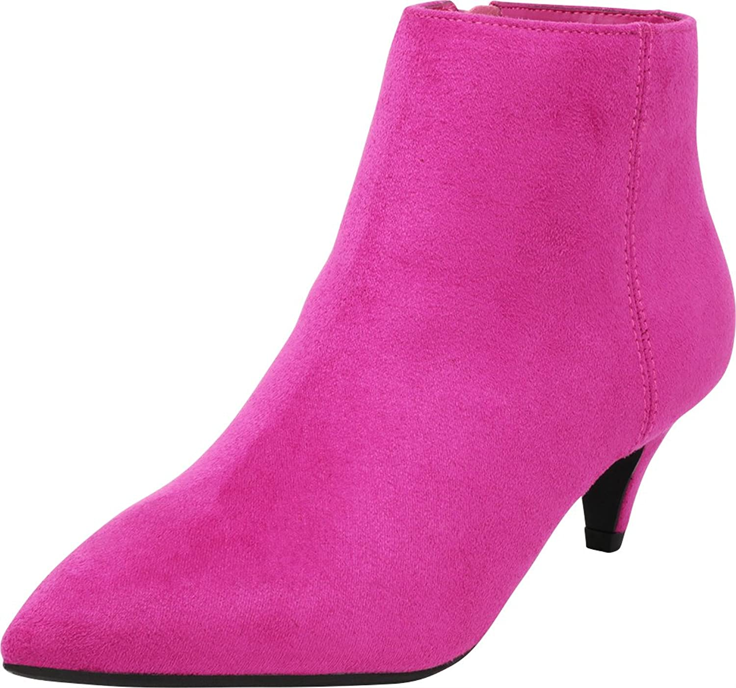 Cambridge Select Women's Closed Pointed Toe Low Heel Kitten Ankle Bootie