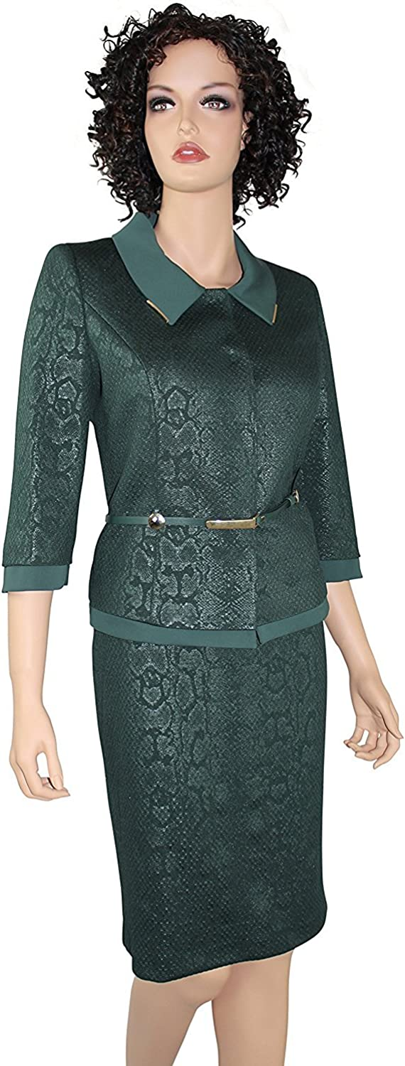Nandie Belted Womens Business Suit Dark Green, Dress Suits, Skirt Suit Set, Business, Work, Church Suit