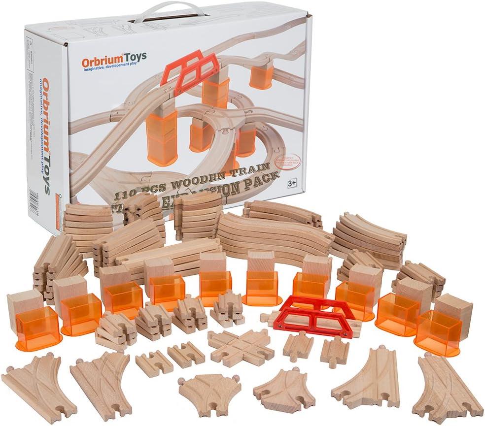 Fees free!! Orbrium Toys Multi-Level 110 New life Piece Wooden Expan Track Train Bulk