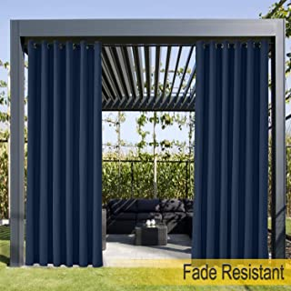 ChadMade Extra Wide Grommet Top Curtain for Outside Door Front Porch Pergola Cabana Covered Patio Gazebo Dock and Beach Home Navy, 200Wx102L (1 Panel)