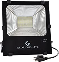 GLORIOUS-LITE 100W LED Flood Light, 8000lm Super Bright Work Lighting, 6500K White Light, IP66 Waterproof Outdoor Landscape Flood Light, Perfect for Playground, Basketball Court, Garage, Backyard