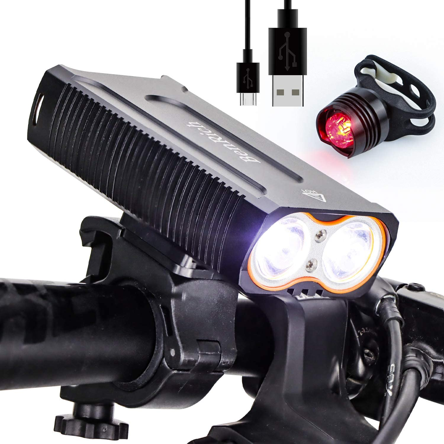 BenRich Bike Lights USB Rechargeable Super W Rapid rise Bright Lumens Be super welcome 2400