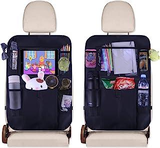 JUSTTOP Black Car Back Seat Organizer چند منظوره به عنوان محافظ خودکار صندلی عقب ، Kick Mat ، سازمان دهنده اتومبیل با دارنده تبلت 10 اینچی 5 جیب ذخیره سازی ، لوازم جانبی صندلی (2 بسته)
