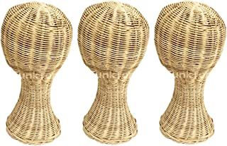 3 pieces Rattan Mannequin Head Stand 13