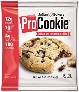 ProCookie Peanut Butter Chocolate Chip (4 Net Carbs)(Gluten-Free)(Grain-Free) (8 Keto Cookies)