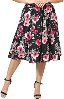 FabnFab Digital Rose Print Mid Calf Length Women Panel Polyester Skirt