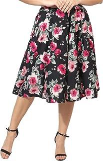 HIYA Digital Rose Print Women Inner Belt Crepe Skirt (Multicolor)