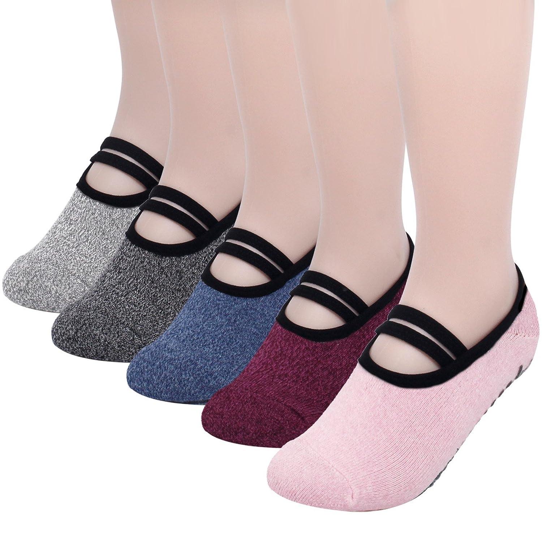 FITEX レディース ヨガ ピラティス ソックス 5色5足組 スポーツ 滑り止め 付き 靴下 ダンス 女性靴下