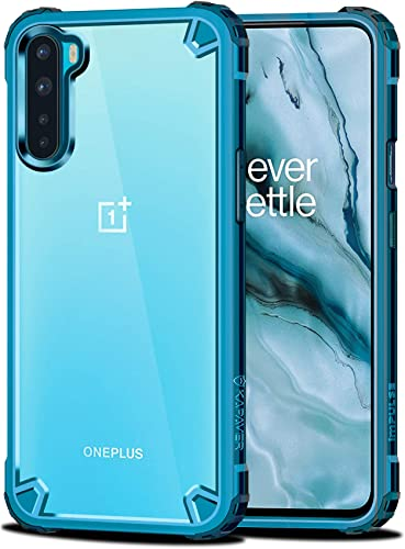 KAPAVER Impulse Transparent Hybrid Hard PC Back TPU Bumper Impact Resistant Protection Back Cover Case for OnePlus Nord One Plus Nord Sea Blue
