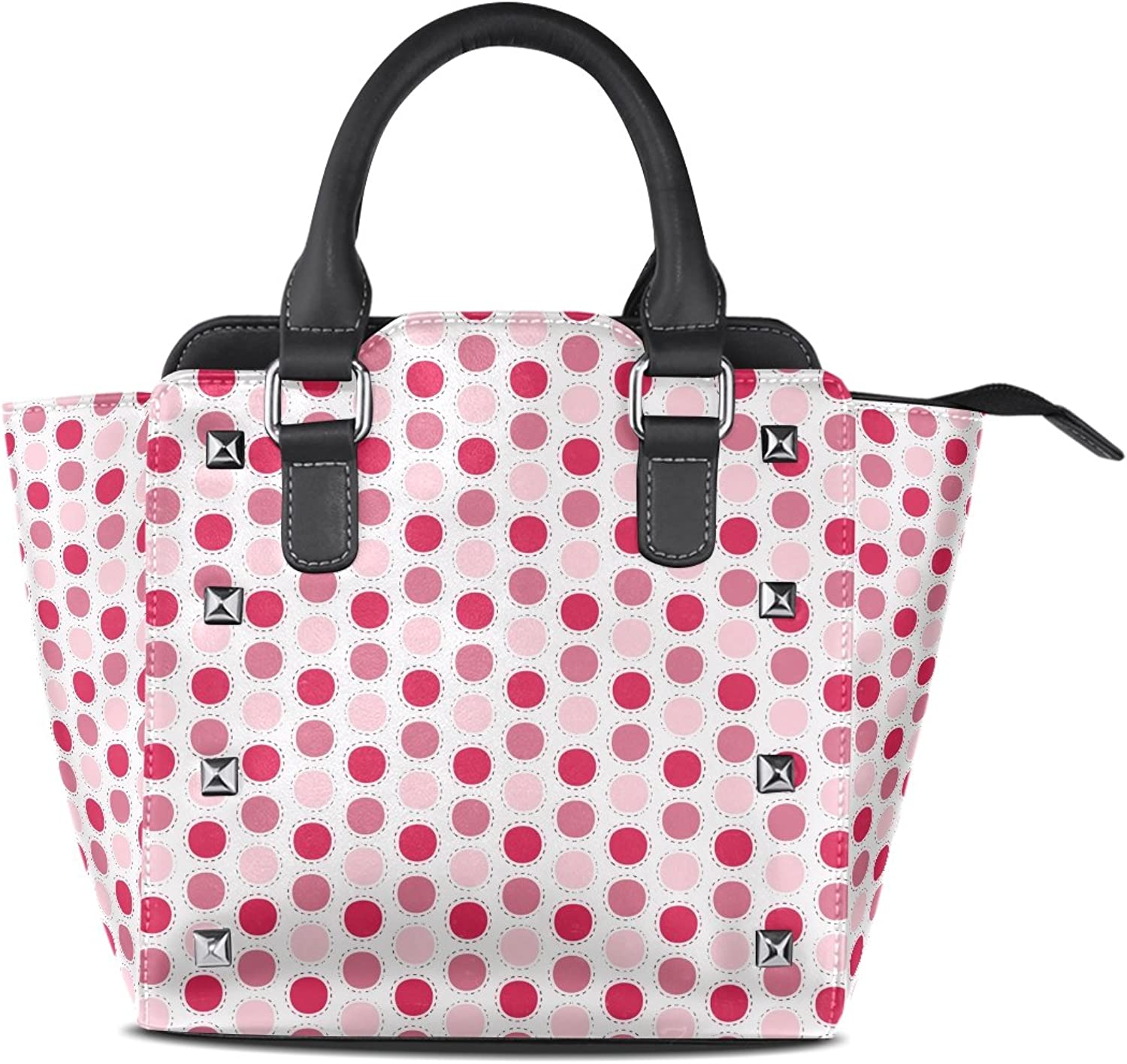 Sunlome Cute Polka Dots Print Women's Leather Tote Shoulder Bags Handbags