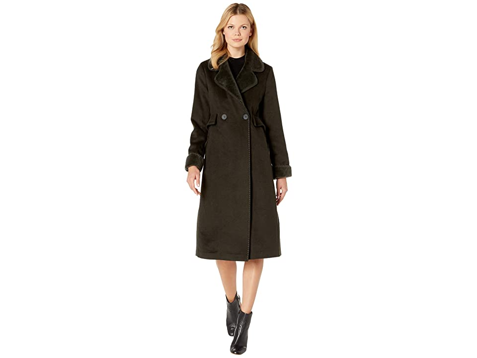 LAUREN Ralph Lauren Two-Button Maxi Wool (Military Green) Women