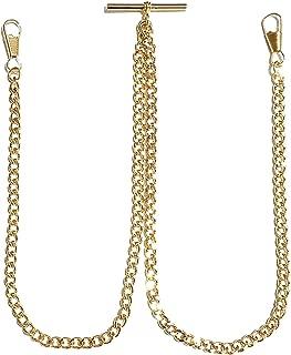 Desperado Gold Double Albert Vest Pocket Watch Chain with T bar Assembled in USA! (3910-G)