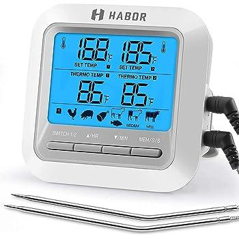 Habor Termometro da Forno, 2 Sonde e Grande Display LCD, Modalità Timer e Sveglia, Termometro Cucina Digitale per Carne, BBQ, Vino, Latte, Olio, Acqua