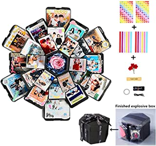 Creative Explosion Gift Box, Love Memory DIY Photo Album Scrapbooking Gift Box with 6 Faces for Birthday Party, Valentine`s Day, Mother`s Day & Wedding