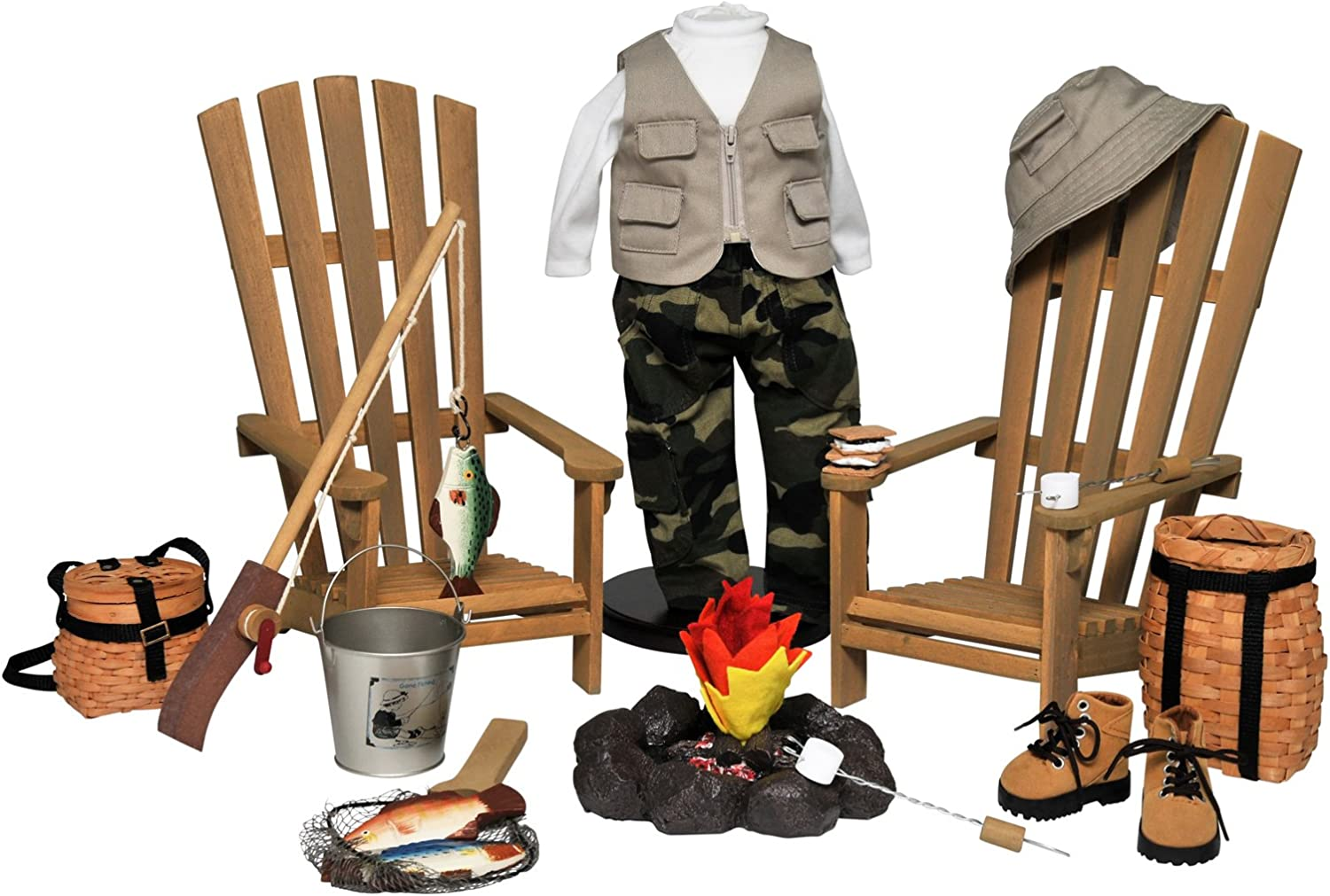 The Queen's Treasures Complete 18 in Doll Adirondack Outdoor Camping & Fishing Adventure 22 Piece Furniture, Accessory & Clothing Set. Fits American Girl