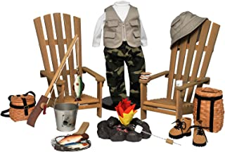 The Queen's Treasures Complete 18 in Doll Adirondack Outdoor Camping & Fishing Adventure 22 Piece Furniture, Accessory & Clothing Set. Compatible with American Girl