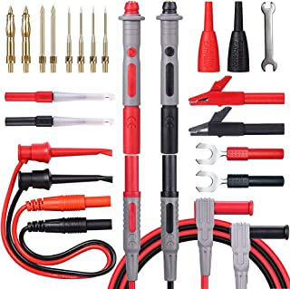 Bionso 21-Piece Multimeter Leads Kit, Professional and Upgraded Test Leads Set with Replaceable Gold-Plated Multimeter Probes, Alligator Clips, Test Hooks and Back Probe Pins.